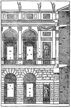 Фрагмент дворового фасада палаццо Тьене из книги Палладио